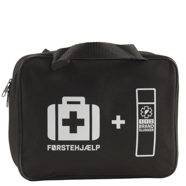 FØRSTEHJÆLPSTASKE (STOR)<br>M. 112 BRANDSLUKKER  &amp; SIKKERHEDSNØGLERING